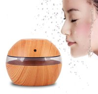 Wholesale Mini Aroma Usb - USB Ultrasonic Humidifier 300ml Aroma Diffuser Essential Oil Diffuser Aromatherapy mist maker with Blue LED Light (Dark wood)