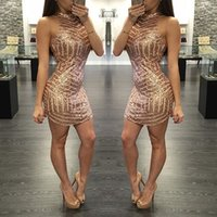 Wholesale Tight Fit Dresses Short - 2016 Sexy Gold Sequins Halter Neck Tight Fitted Mini Sheath Cocktail Dresses Short Custom Made Homecoming Dresses
