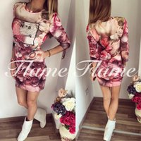 Mini Dress for Spring online - 2016 new style fashionable three-dimensional floral letter print dress for sale C006