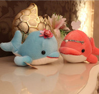 Wholesale Cute Couple Toys - 18CM Cute Couple Large Dolphin Plush Toy Doll Pink and Blue Cloth Dolls Ocean Pillow Female Birthday Gift Bag