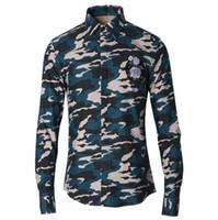 Wholesale Korean Mens Shirt Designed - korean men Shirt Brand Design Chemise Homme Long Sleeve Camouflage Mens Dress Shirts Casual Slim Fit Cotton Social Masculina 3XL