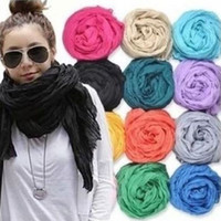Wholesale Soft Wrinkle Scarves - 2016 Hot Women Fashion Solid Cotton Voile Warm Soft Silk Wrinkle Scarf Shawl Cape 20 Colors Available 18024