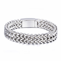 Wholesale 12mm Figaro Silver Bracelet - High Quality New Arrival Silver Tone 12MM 9'' Casting Stainless Steel 2 Row Square Figaro Chain Bracelet Men Hip-hop Jewelry