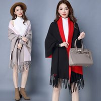 Wholesale Outerwear Greatcoats - One Size Cashmere Women's Coat Lady Trench Coat Overcoats Outerwear Clothes Dust Coats Autumn Winter Surcoat Greatcoat Clothing Cape Poncho