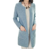 Wholesale Korean Long Coat Wholesale - Wholesale- Cardigan coat Korean temperament pocket sweater women long variegated knit sweaters jacket round neck thick vestidos MMY028