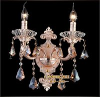 Wholesale Beds Contemporary - Pink Crystal wall lamps crystal wall light bed-lighting crystal E14