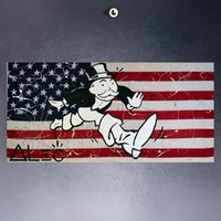 Wholesale Abstracts Painting High - Framed ALEC-MONOPOLY HUGE FLAGS, High Quality genuine Hand Painted Wall Decor Alec monopoly Pop Art Oil Painting Canvas,Multi size Available