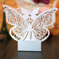 white wedding favour boxes wholesale 2018 - Party Favor Gift Wedding Candy Boxes Favor Holders Wedding Supplies Butterfly Paper Napkin Rings Holders Party Favour Table Decorations Set