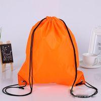 Wholesale Folding Fabric Shopping Bag - 100pcs New Drawstring 210polyest fabric Tote bags waterproof Backpack folding bags Marketing Promotion drawstring shoulder bag shopping bags