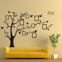 Wholesale Black Photo Tree Wall Decal - ZY94AB Beautiful Family XXL Size 200*250CM Family Picture Photo Frame Tree Wall Quote Art Stickers Vinyl Decals Home Decor 94AB XL