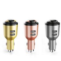 зарядное устройство для автомобильных телефонов оптовых-IVLWE 3 в 1 двойной USB автомобильное зарядное устройство беспроводной Bluetooth 4.1 наушники гарнитура аварийный Безопасный молоток встроенный микрофон для мобильного телефона по ap5566