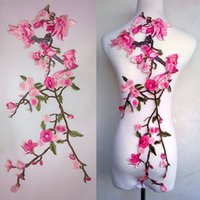 Wholesale Korean Style For Work - 35*65cm good quality large plum blossom flower lace applique patch with no adhesive for cheongsam dress or classic clothes DIY