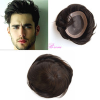 Wholesale Hair Replacement Man - Wholesale 100% Indian human hair men toupee NPU 7x9 inch Fine Mono base Replacement Systerm 5 colors Human Hair Piece