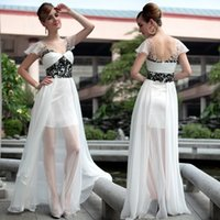 Wholesale Sexy White Leather Wear - Tulle Evening Dresses With Beaded V Neck Chiffon Prom Dresses Custom Design Cheap Plus Size Evening Wear