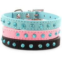 Wholesale Harness Wholesale Prices - Factory Price! Small Pet Dog Velvet PU Leather Collar Puppy Cat Crystal Rhinestone Neck Strap