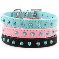Prix ​​d'usine! Petit Pet Dog Velvet PU collier en cuir Puppy Cat strass cristal Collier