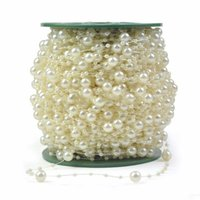 Wholesale Wedding Centerpieces Pearls - 246 FT(75 M) White Pearl Chain String Garland Christmas Wedding Wishing Tree Bridal Bouquet Decoration DIY Craft Supplies