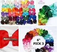 Wholesale Hair Bows Claw Clips - 6 inch baby hairbows with clips 30colors Set of 50 pcs Extra Large Hair Bow Hair Bow Hair Bow infant hair bows