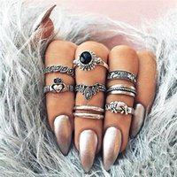 Vintage Exaggerate Midi Women Ring Set 8PCS Crown Elephant Charm Finger Anillos Apilables Antique Silver Knuckle Fine Jewelry