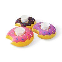 Wholesale Kids Inflatable Pool Balls - Fast Inflatable donuts coke Phone Cup Holder Water Inflatable toys decorations 18cm Drink Botlle Holder free shipping C1156
