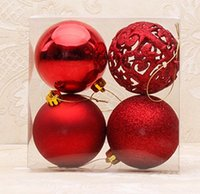 Wholesale Matte Silver Christmas Ball Ornament - Gift Set Six Colors Hollow Ball Ornament Party Decoration 4 Categories highlight hollow matte shining powder