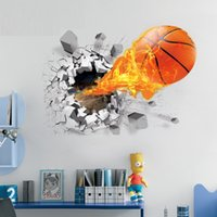 Wholesale Wholesale Wall Decal Printing - 2016 New 3D printed basketball wall stickers for basketball club, association decoration National Basketball fans lover decals free shipping
