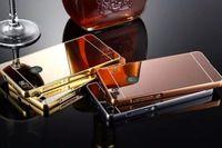 Wholesale Metal Huawei P6 - For Huawei G8 G7 P9 P6 P7 P8 Lite,LG K7 G5 G4 V10 G3 G2,HTC One M9 M8 2in1 Mirror Bling Hard PC Metallic Case+Metal Bumper Acrylic Skin