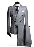 Wholesale Winter Light Grey Jacket Mens - Double-Breasted Side Vent Light Grey Groom Tuxedos Peak Lapel Groomsmen Mens Wedding Tuxedos Prom Suits (Jacket+Pants) G1671