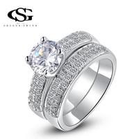 Wholesale g finger rings - G&S Brand New Design Classic Genuine Austrian Crystals Fashion Zircon Diamond Finger Ring Bridal Wedding White Gold Plated Rings