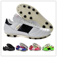 Wholesale Fabric World - Original Hot Sale Mens Copa Mundial Leather FG Soccer Shoes Discount Soccer Cleats 2015 World Cup Football Boots Black White botines futbol