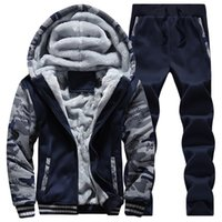 Wholesale Mens Casual Sweat Suits - Wholesale-winter men sweat suits fleece warm mens tracksuit set casual jogging suits sports suits cool jacket pants and sweatshirt set