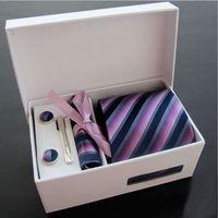 ingrosso set di cravatta-Vendita al dettaglio Mens cravatta Set 8 cm cravatte + gemelli + tasca quadrato + clip di cravatta + confezione regalo + sacchetto di carta 6 pezzi set spedizione gratuita 1 set