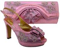 bayanlar ayakkabı çanta takımları toptan satış-Yüksek kaliteli pembe afrika ayakkabı maç çanta seti ile rhinestones lady papyon ayakkabı ve çanta MM1031, topuk 11.5 CM