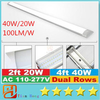 Wholesale Led 4ft Fixtures - 2016 New Surface Mounted LED Batten Double row Tubes Lights 2FT 4FT T8 Fixture Purificati LED tri-proof Light Tube 20W 40W AC 110-240V