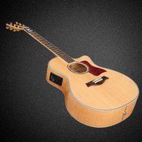 Wholesale ebony flame for sale - Custom OEM guitar Wood color cut away acoustic electric guitar flame maple back and side