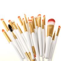 fırçalar makyaj altın toptan satış-Toptan 20 Adet Makyaj Fırçalar Beyaz ve Altın Renkler Set Vakfı Göz Farı Eyeliner Dudak Fırçası Aracı