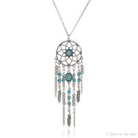 Wholesale Turquoise Leaf Necklace - Dreamcatcher Leaf Wing Charms Necklace Turquoise Beads Tassel Pendant Boho Necklace Ethnic Bohemia Jewelry Statement Long Necklace