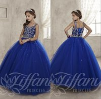Wholesale Kids Pink Corset - 2016 New Royal Blue Girls Pageant Dresses Sweetheart Crystal Beaded Ball Gown Long Corset Kids Flower Girls Dress Birthday Communion Gowns
