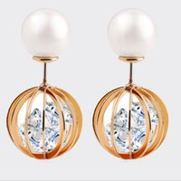Wholesale Swing Back - Double Sided Front and Back Pearl Cubic Zirconia CZ Swing Ball Golden Stud Earrings Best Gift for Women