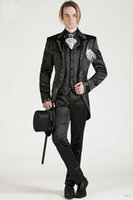 Wholesale White Italian Suits - Italian Embroideries Groom's Wear Black Smoking Dinner jacket Wedding Suits For Men Best man's 3 Peices Suits(Jacket+Pants+Bowtie)