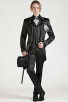 Wholesale Italian Suit 46 - Italian Embroideries Groom's Wear Black Smoking Dinner jacket Wedding Suits For Men Best man's 3 Peices Suits(Jacket+Pants+Bowtie)
