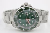 Wholesale Dive Sub - New Luxury Men sub watch Automatic Movement Men's Stainless Steel Green Dial Date Ceramic Bezel Original Clasp wristwatch dive watches