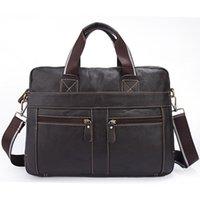 Wholesale Women Leather Attache Case - Genuine Leather Men Briefcase Laptop Bag Fashion Cow Leather Male Brief attache case Shoulder Bag Designer Men Messenger Bag