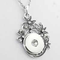 Wholesale Watch Necklaces Pendants - Wholesale- Boom Life Crystal 18mm metal snap button pendant &Necklace watches women one direction ethnic jewelry