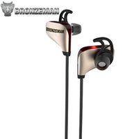 Wholesale Wireless Sweatproof Headphones - Noise Cancellation Headphones High End Wireless Earbuds For Gym BRONZEMAN Gold BZM8 Wireless 4.1 Sweatproof Stereo Earbuds Headset With Mic
