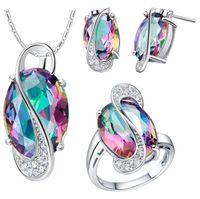 ensembles de bijoux colorés achat en gros de-Ensembles de bijoux de mariage pour Brides argent 925 Boucles d'oreilles de couleur Bague Collier bijoux de mariée HJIA844