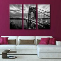 Wholesale City Bridge Paintings - 3 Picture Combination Above George Washington Bridge Wall Art Painting Pictures Print On Canvas City The Picture For Home Decor