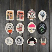 Wholesale Miao Embroidery - Price Cheap Fashion Embroidery Kids badge brooch pins handmade cloth button pins with pattern cartoon for Kids, Children Accessories, 12 SKU