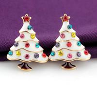 Wholesale Vintage Earring Tree - 3D Christmas Tree Crystal Stud Earrings Vintage style Lovely Cute earrings simple and sweet 3 color choose xz78