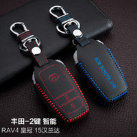 Wholesale Toyota Highlander Leather Key Cover - For 2015 Toyota RAV4 Highlander Hand-Sewing Genuine leather Remote Control Car Key chain Car key cover 2 Buttons Smart Auto Accessories